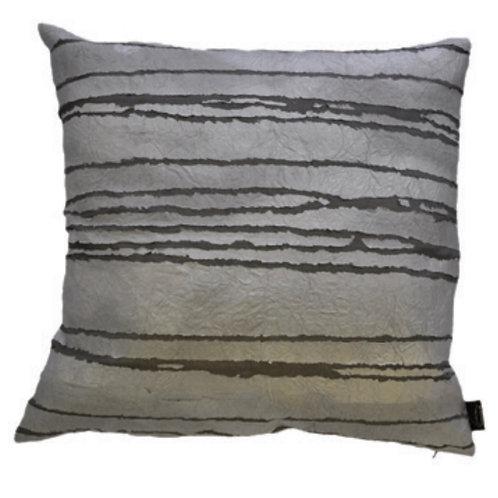 Aviva Stanoff Exotics Silver Tissue Lines Cushion