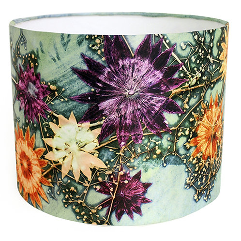 Gillian Arnold - Branching Astrantia | Green & Blue Lamp Shade For The Home