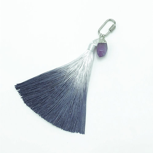 Stranger Than Them - Healing Crystal - Soothe - Amethyst Silver Ombre Key Chain