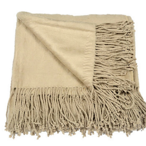 Aviva Stanoff Silk Fleece Throw in Fawn
