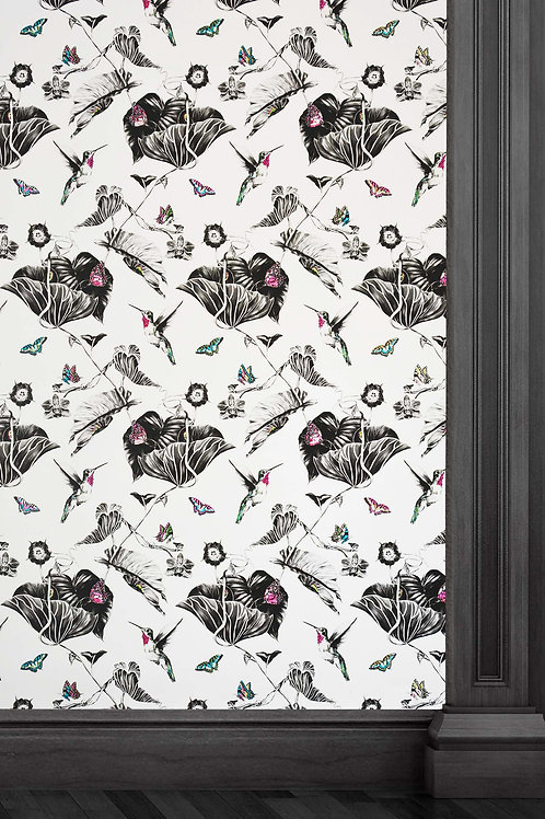 Susannah Weiland Collections Pink Hummingbirds Wallpaper