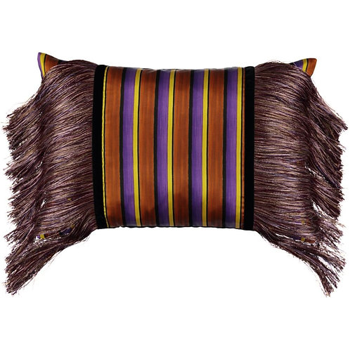 Mariska Meijers - Fringed Stripes Brown Pillow