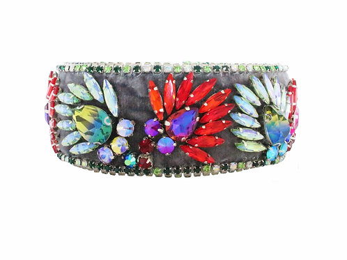 Adriana Choker Grey with Crystal Embroidery by Jolita