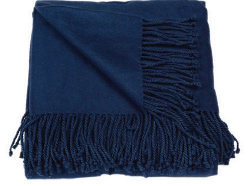 Aviva Stanoff Silk Fleece Throw in Navy
