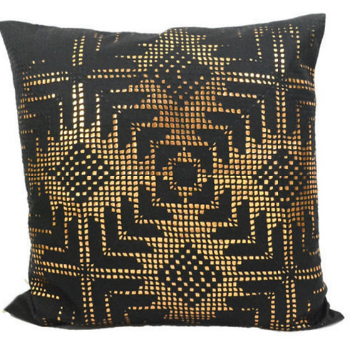 Aviva Stanoff Gold Aztec Lace on Black Cushion