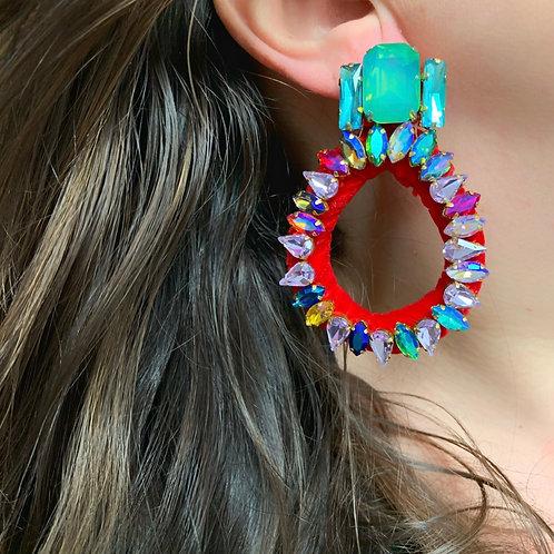 Bella Small Hoop Crystal Earrings by Jolita