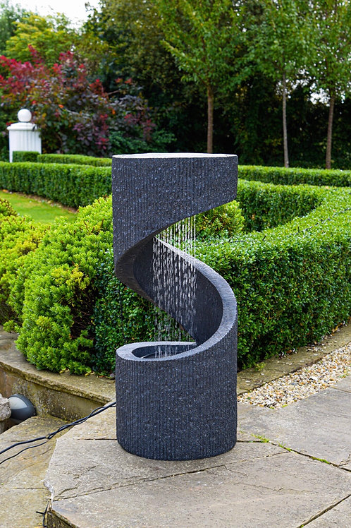 Outdoor Spiral LED Water Feature Granite H82Cm