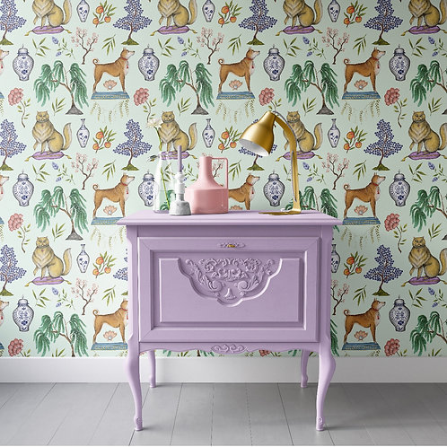 Catherine Rowe Designs Chinoiserie Menagerie Wallpaper in Mint