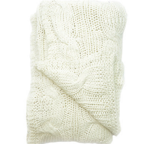 Aviva Stanoff Cotton Cable Knit White