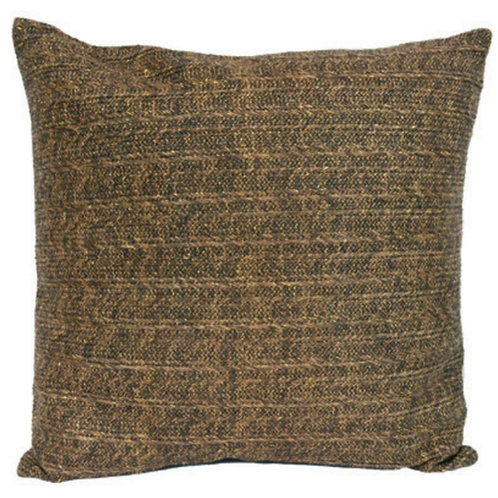 Aviva Stanoff Outdoor in Oasis Pillow in Tobacco and Gold Detail