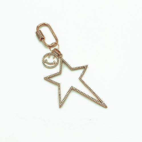 Stranger Than Them - Ziggy Gold Pave Crystal Smiley Face Bag Clip / Keyring