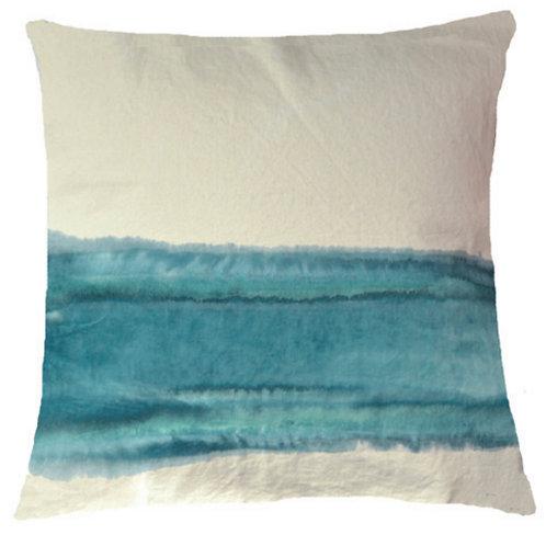 Aviva Stanoff Mod Art in Horizon in Celeste on Canvas Cushion