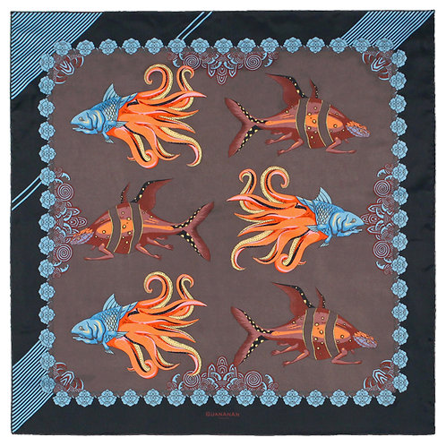 The Fish Square Silk Scarf - in Brown by GuanAnAn - London