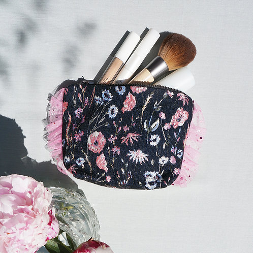 Stranger Than Them - OPHELIA Botanical Jacquard Ruffle Make Up Bag