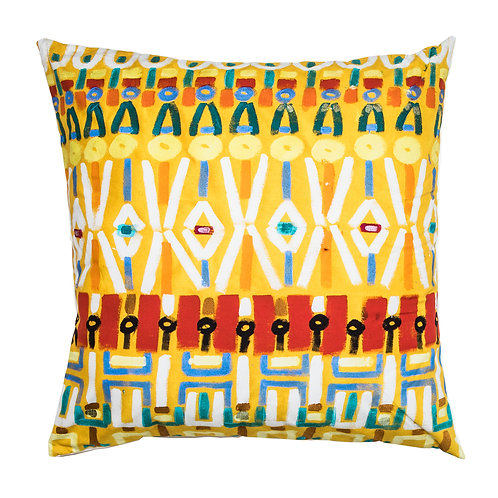 Le Botteghe d'Arte Yellow Colours Hand Painted Artisan Cushion