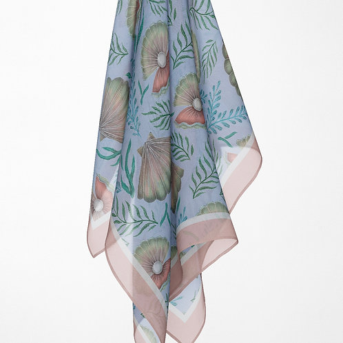 Catherine Rowe Designs Shell Pattern Scarf - 100% Silk or Vegan Silk