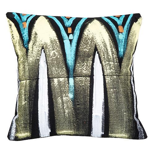 Le Botteghe d'Arte Gold & Black Hand Painted Artisan Cushion