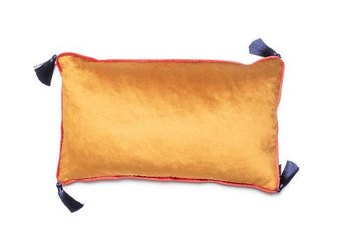 Bivain Burnt Orange Velvet Rectangular Cushion with Tassels