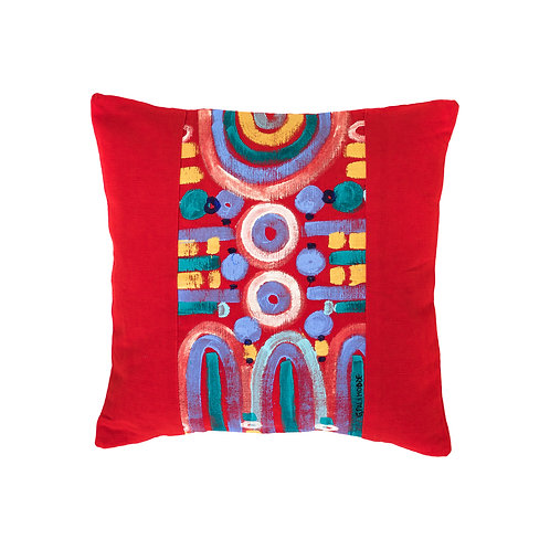 Le Botteghe d'Arte Rosso Colours Hand Painted Artisan Cushion
