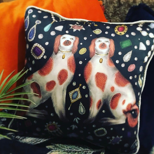 Catherine Rowe Designs Luxury Velvet Cushion - China Dogs & Jewels