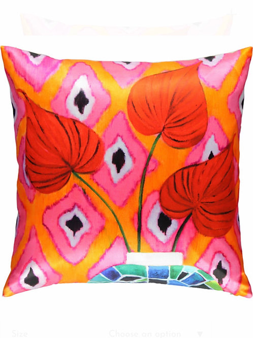 Red Flamingo silk square pillow