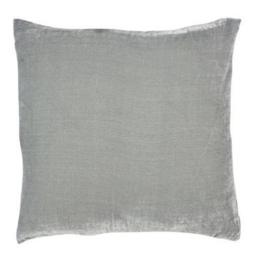Aviva Stanoff Solid Silk Velvet Silver Cushion