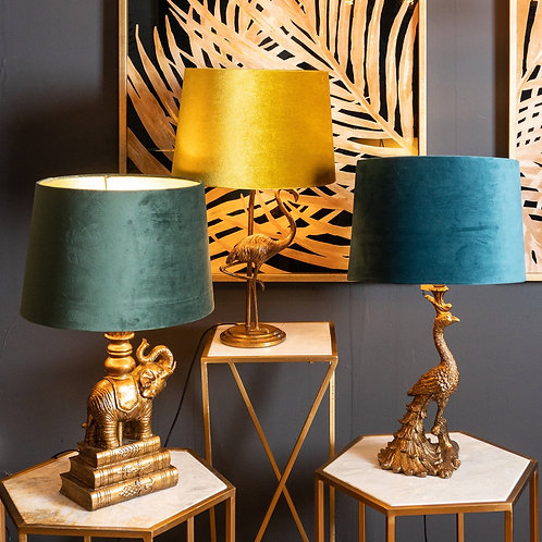 Antique Gold Flamingo Lamp With Mustard Velvet Shade