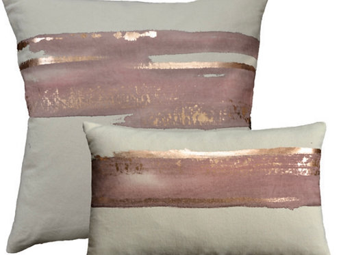 Aviva Stanoff Mod Art in Rose Water on Canvas with Rose Gold Cushion