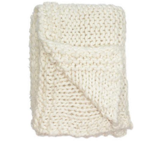Aviva Stanoff Chunky Knit Merino Wool Throw in Creme