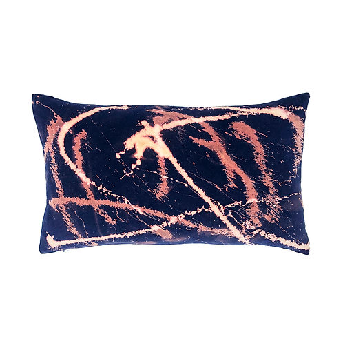 Stranger Than Them - Stardust Navy Rectangular Velvet Cushion