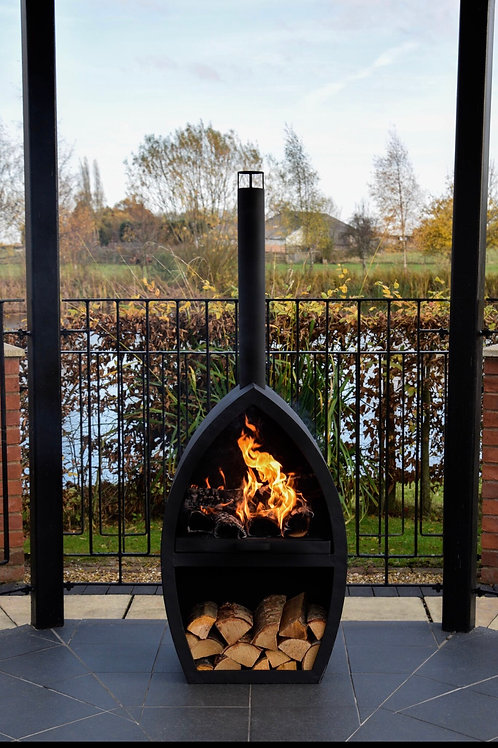 Outdoor Poole Fireplace in Black Iron H154