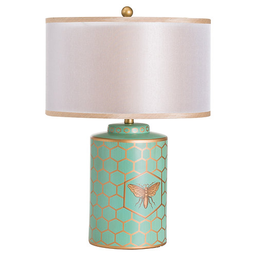 Harley Bee Mint Table Lamp With White Shade