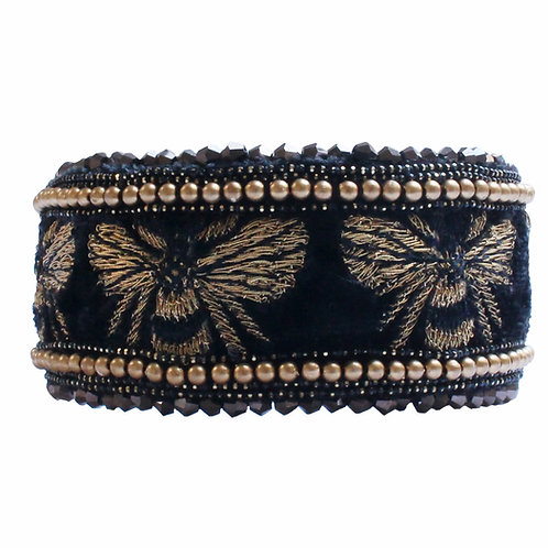 Black Embroidered Dog Collar