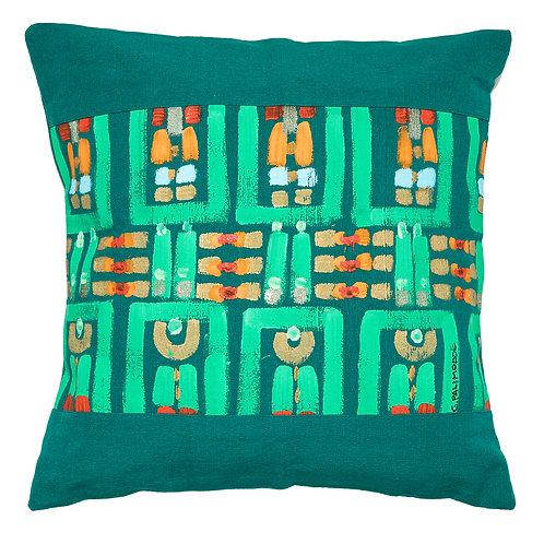 Le Botteghe d'Arte Green Hand Painted Artisan Cushion