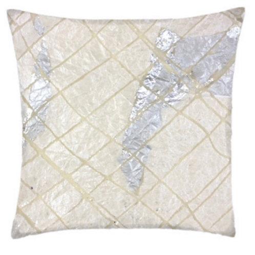 Aviva Stanoff Exotics Tissue Silk in White/Silver Grid Cushion