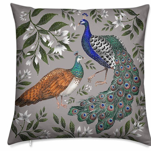 Catherine Rowe Designs Luxury Velvet Cushion - Peacock & Peahen - Feather or Veg