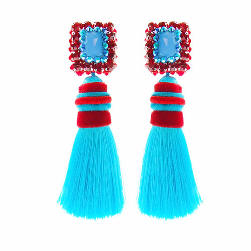 Isadora Earrings with Turquoise Tassels by Jolita