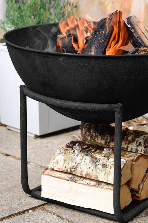 Outdoor Cast Iron Firebowl on Stand in Black Iron - In Stock