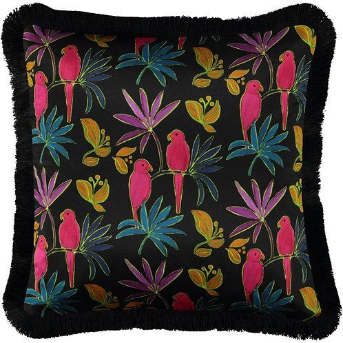 Mariska Meijers - Singapore Black Fringed Silk Square Pillow