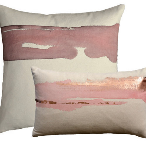Aviva Stanoff Mod Art in Rose Quartz on Canvas with Rose Gold Cushion