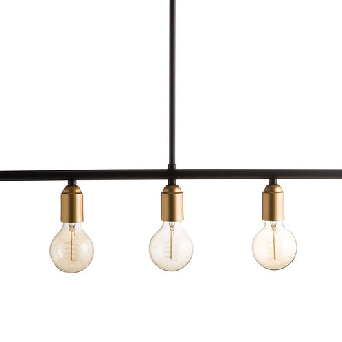 Black And Brass Industrial Five Bulb Bar Light Fitting