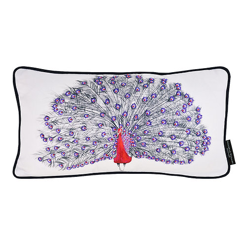Susannah Weiland Collection - Pascal The Peacock Hand Embroidered Beaded Cushion