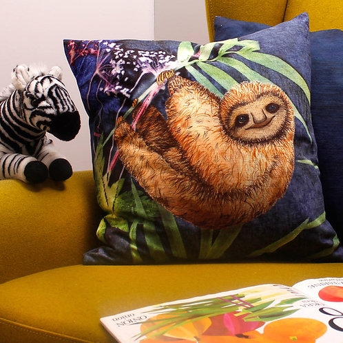 Gillian Arnold Relaxing Sloth Tropical Cushion