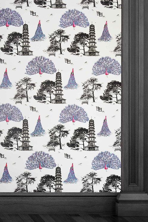 Susannah Weiland Collections Pink Kew Peacocks Wallpaper