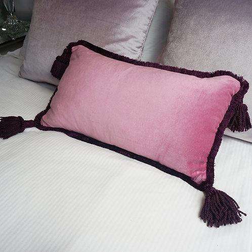 Stranger Than Them Rose Rectangle Pink Velvet Cushion