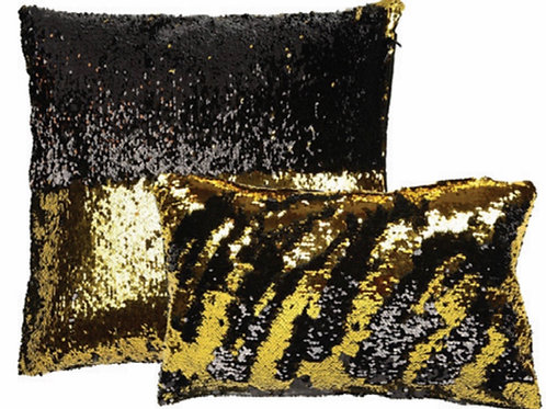 Aviva Stanoff Sequin in Black and Gold Cushion