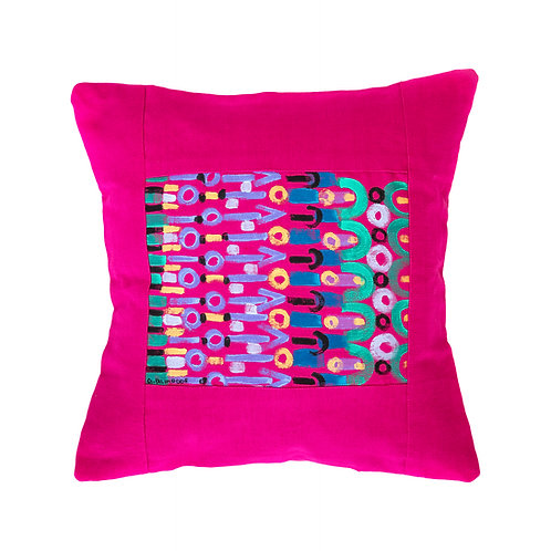 Le Botteghe d'Arte Pink Hand Painted Artisan Cushion