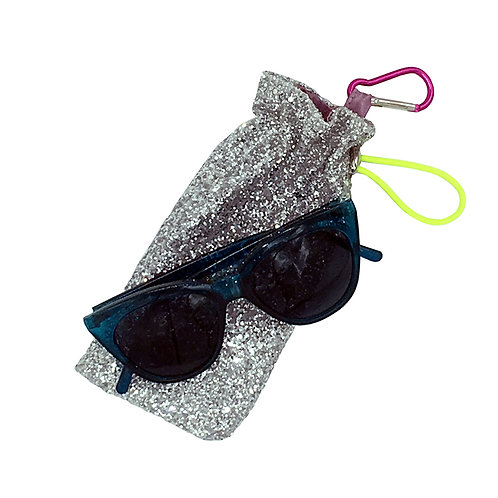 Strange Than Them Edna Silver Glitter Glasses Case