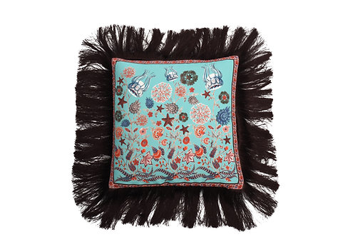 Bivain Aqua Chintz Silk Cushion
