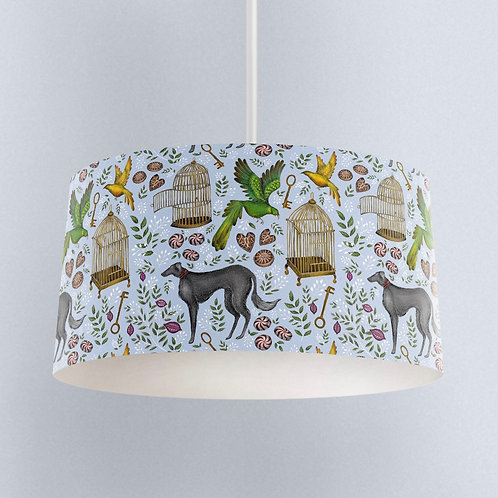 Powder Blue Whimsical Patterned Lampshade